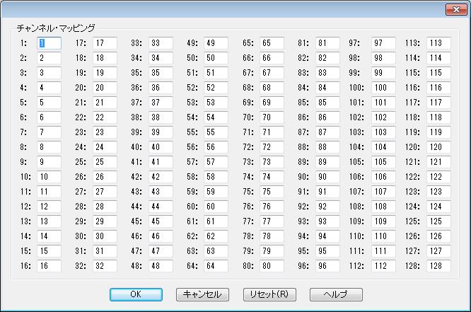 MIDIスルー変換表ダイアログボックス